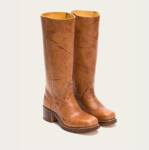 FRYE Cognac Brown Leather Boots Size 7M